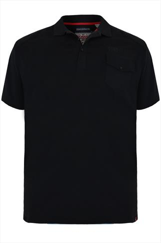 D555 Black Short Sleeve Polo Shirt With Button Up Chest Pocket - TALL
