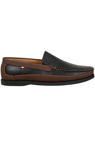 Shoes D555 Black Slip On Shoe With Brown Trim 110440