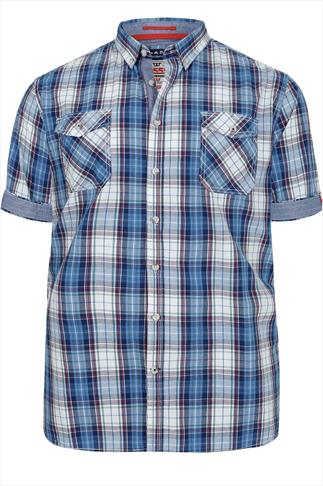 D555 Blue & Red Checked Short Sleeved Shirt
