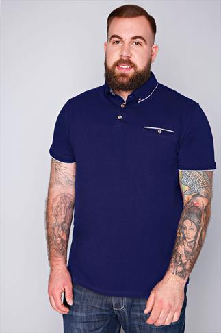 D555 Blue Short Sleeve Polo Shirt With Pocket Detail - TALL
