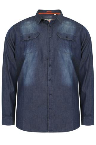 D555 Blue Vintage Denim Shirt With Twin Pockets- TALL