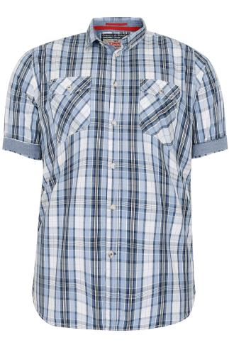 D555 Blue & White Check Short Sleeve Cotton Shirt