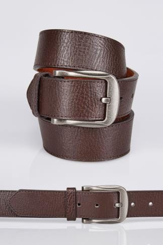 D555 Brown Kingsize Leather Belt With Silver Buckle