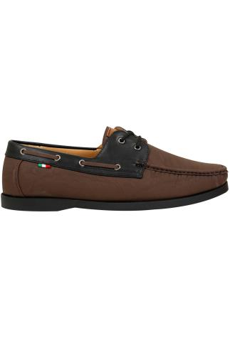 D555 Brown Lace Up Boat Shoe With Black Trim