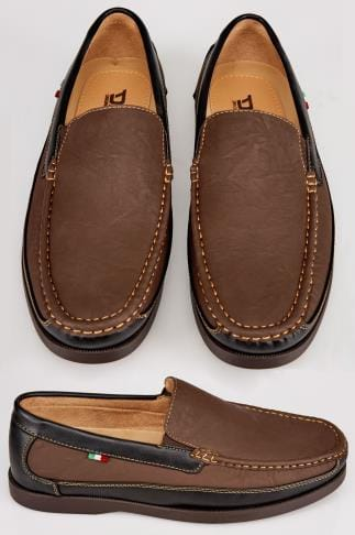 D555 Brown Slip On Shoe With Black Trim