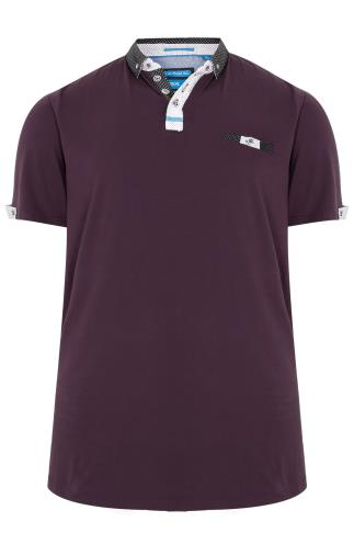 D555 Burgundy Polo Shirt With Woven Collar