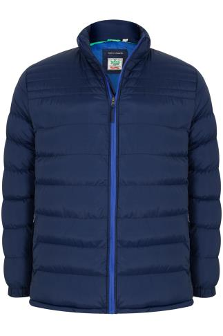 D555 Dark BLue Quilted Puffer Coat With Sky Blue Lining- TALL