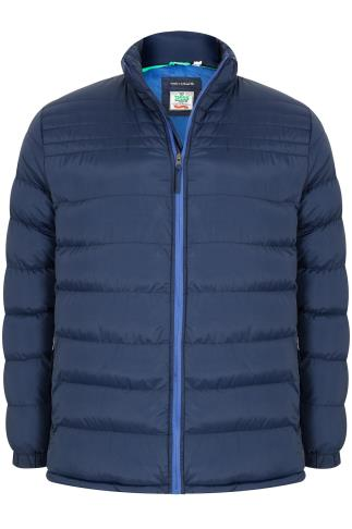 D555 Dark BLue Quilted Puffer Coat With Sky Blue Lining