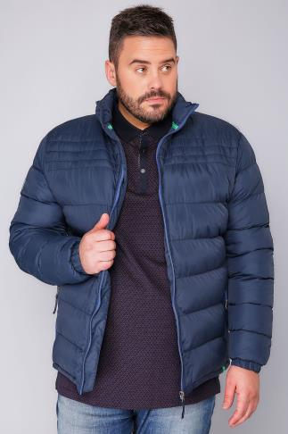 Coats D555 Dark BLue Quilted Puffer Coat With Sky Blue Lining 101168