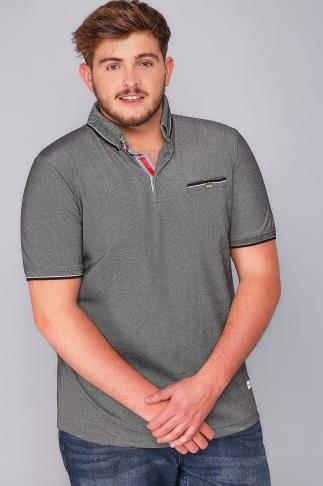 Polo Shirts D555 Grey Edric Polo With Tipped Collar 110259