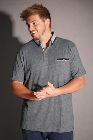 Polo Shirts D555 Grey Fine Stripe Colin Polo Shirt With Contrasting Collar 200036