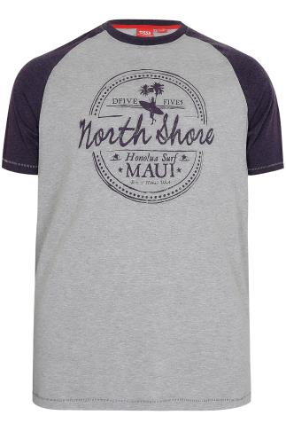 D555 Grey Jayson T-Shirt With Purple Sleeves