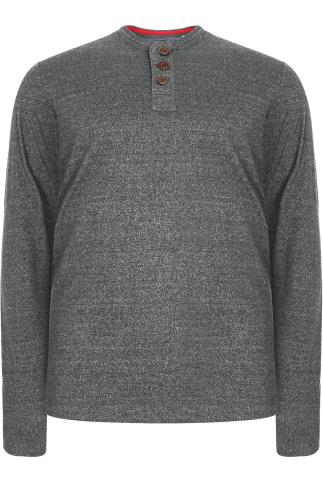 D555 Grey Long Sleeve Sweat Top - TALL