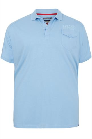 D555 Light Blue Short Sleeve Polo Shirt With Button Up Chest Pocket - TALL