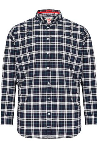 D555 Navy & Green Checked Long Sleeved Shirt