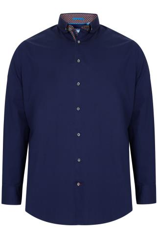 D555 Navy Long Sleeved Shirt With Contrasting Lining Detail