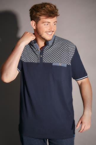 Polo Shirts D555 Navy Maurice Polo Shirt With Geometric Yoke & Chest Pocket 200041