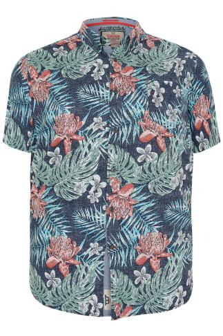 D555 Navy & Multi Tropical Print Short Sleeve Cotton Shirt