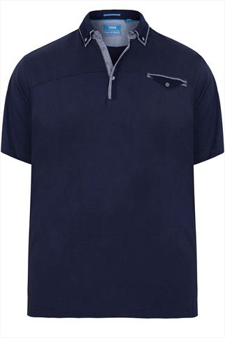 D555 Navy Polo Shirt With Gingham Trim