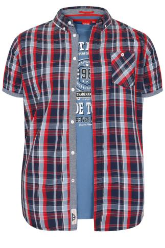 D555 Navy & Red Check 2 In 1 Shirt & T-Shirt Combo