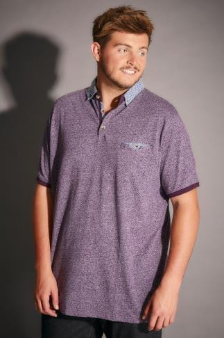 Polo Shirts D555 Purple Diego Polo Shirt With Contrasting Collar 200037