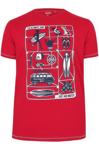 "D555 Red Jaron T-Shirt With ""The Ultimate Surf"" Print"