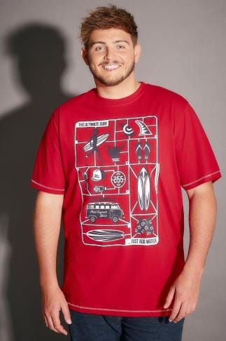 "T-Shirts D555 Red Jaron T-Shirt With ""The Ultimate Surf"" Print 200026"