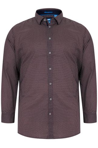 D555 Red & Navy Printed Long Sleeve Shirt