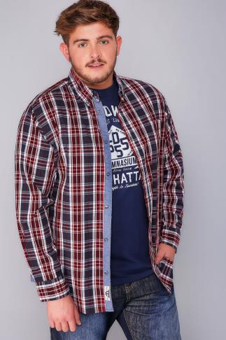 Casual Shirts D555 Red, White & Navy Checked Shirt & Printed T-Shirt Combo - TALL 101148T