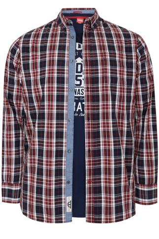 D555 Red, White & Navy Checked Shirt & Printed T-Shirt Combo