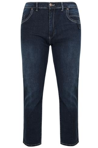 D555 Blue Tapered Leg Stretch Jeans - TALL