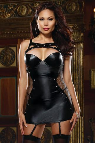 DREAMGIRL Black Leather Look & Fishnet Garter Dress 057545