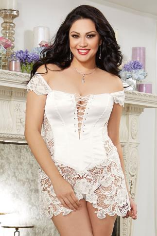 "DREAMGIRL Cream ""Beyoncé"" Corset & Thong Set With Lace"