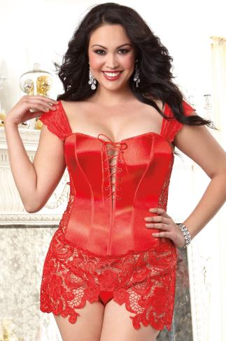 "Bustier DREAMGIRL Red ""Beyoncé"" Corset & Thong Set With Lace 056182"
