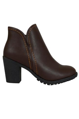 Dark Brown Faux Leather Heeled Ankle Boot With Side Zip In E Fit