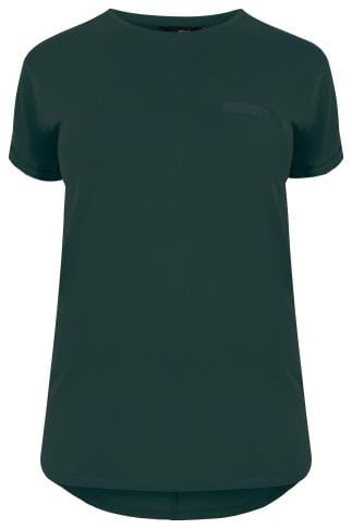 Dark Green Pocket T-Shirt With Curved Hem