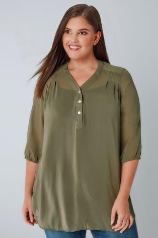 Blouses & Shirts Dark Green Sheer Chiffon Button-Up Blouse With 3/4 Length Sleeves 170307