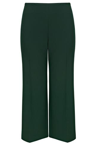 Dark Green Wide Leg Trousers