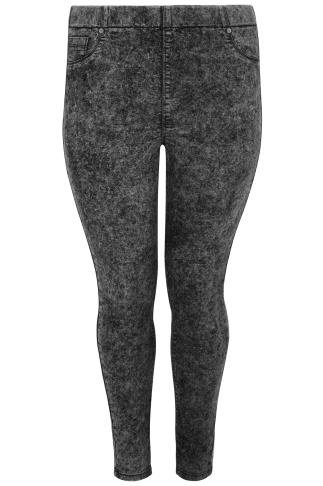 Dark Grey Acid Wash Pull On Stretch Jeggings