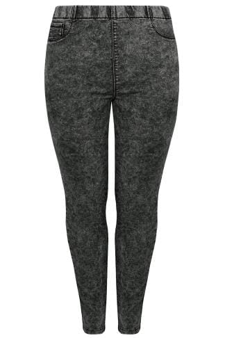 Dark Grey Acid Wash Skinny Jeggings