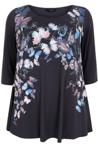 Dark Grey Butterfly 3/4 Sleeved Swing Top