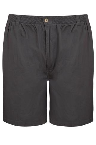 Dark Grey Chino Shorts With Elasticated Waist Band