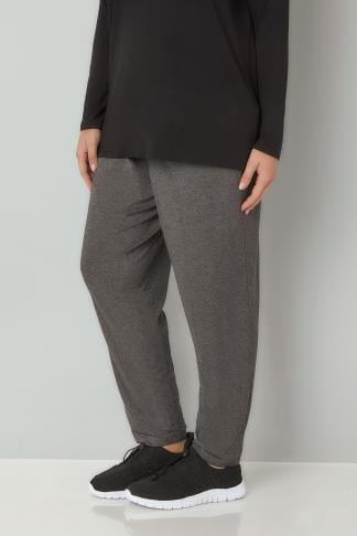 Harem Trousers Dark Grey Double Pleat Jersey Harem Trousers 103367