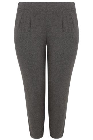 Dark Grey Double Pleat Jersey Harem Trousers
