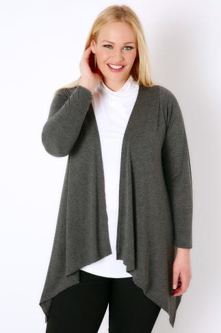 Grey Marl Long Sleeved Soft Knit Cardigan Plus Size 16 to 36