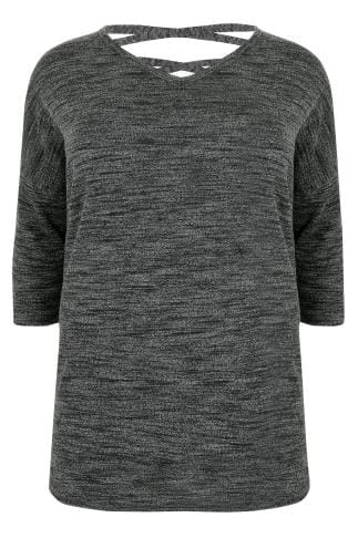 Dark Grey Longline Knitted Top With Dipped Hem & Cross Over Straps