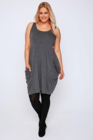 Dark Grey Marl Drape Pocket Sleeveless Dress