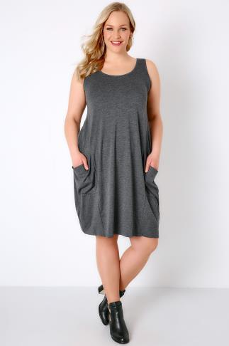 Dark Grey Marl Drape Pocket Sleeveless Jersey Dress