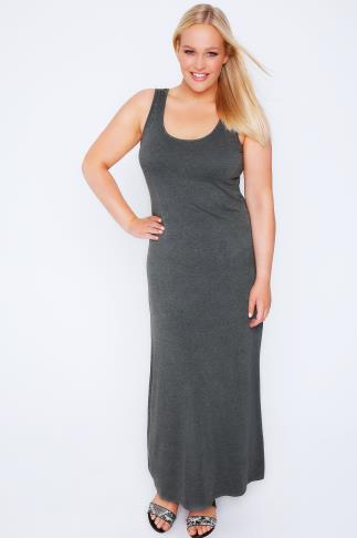 Dark Grey Marl Plain Sleeveless Jersey Maxi Dress