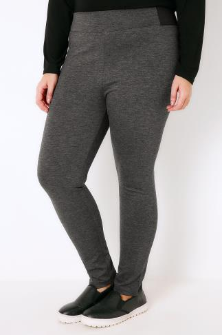 Dark Grey Treggings With Elasticated Sides